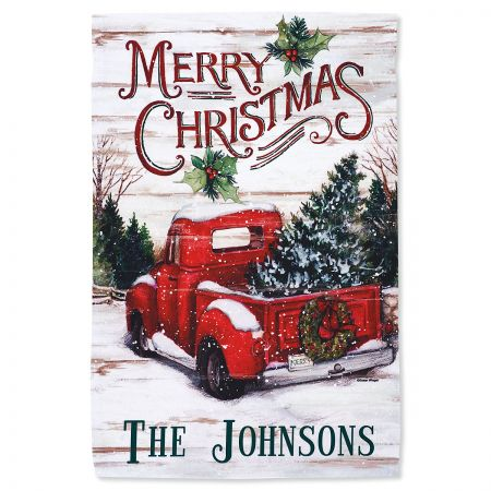 Red Truck Christmas Personalized Garden Flag
