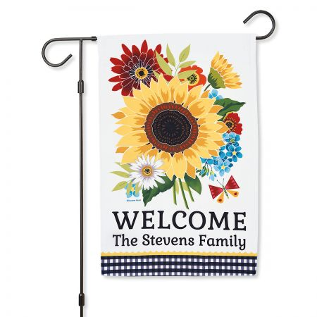 Sunflower Charm Welcome Personalized Garden Flag
