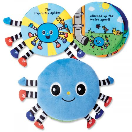 Itsy Bitsy Spider Book Snuggly soft, yet durable, 8 activity pages let kids grasp, discover, and more. Machine-wash fabric; 7  x 8-1/2 ; 1 month+.