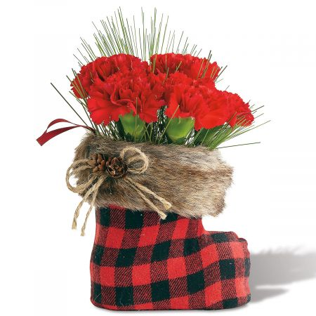 Santa Boot Vase with Faux Fur