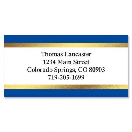 blue and gold foil border address labels current catalog