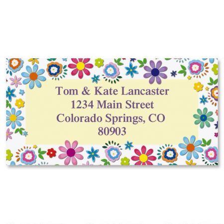 Cheerful Florals Border Address Labels