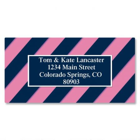 Navy and Pink Border Address Labels