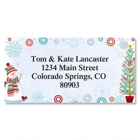 Snowman Delight Border Address Labels