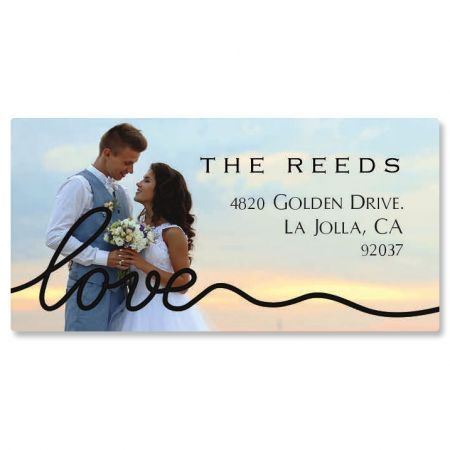 Love Black Caption Border Photo Personalized Address Labels