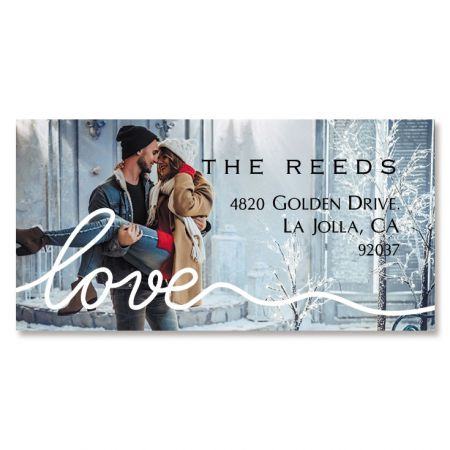 Love White Caption Border Photo Personalized Address Labels