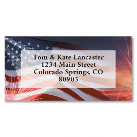 American Celebration Border Address Labels You receive 144 self-adhesive Border-style personalized labels, each measuring 1 x 2 1/4 . We'll print them with the name and address, message, or information you choose. Specify block or script and 4 lines of personalization, up to 26 characters