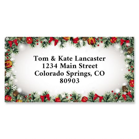 Christmas Frame Border Address Labels You receive 144 self-adhesive Border-style personalized labels, each measuring 1-1/8  x 2-1/4 . We'll print them with the name and address, message, or information you choose. Specify block or script and 4 lines of personalization, up to 26 characters