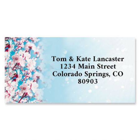 Blossoming Apricot Border Address Labels You receive 144 self-adhesive Border-style personalized labels, each measuring 1 x 2 1/4 . We'll print them with the name and address, message, or information you choose. Specify block or script and 4 lines of personalization, up to 26 characters