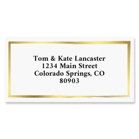 Gold Border Address Labels You receive 144 self-adhesive Border-style personalized labels, each measuring 1 x 2 1/4 . We'll print them with the name and address, message, or information you choose. Specify block or script and 4 lines of personalization, up to 26 characters