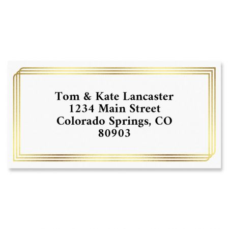 Triple Border Address Labels You receive 144 self-adhesive Border-style personalized labels, each measuring 1 x 2 1/4 . We'll print them with the name and address, message, or information you choose. Specify block or script and 4 lines of personalization, up to 26 characters