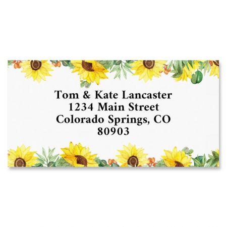 Summer Sunflowers Border Address Labels