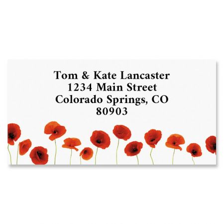 Red Poppies Border Address Labels