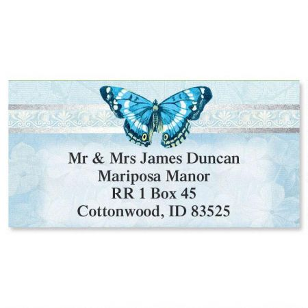 Blue Beauty Foil Border Address Labels