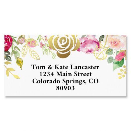 Golden Rose Gold Foil Border Address Labels