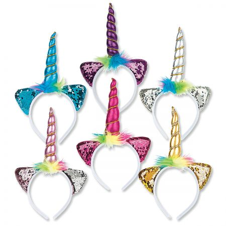 Unicorn Headband For costume play or everyday wear, headband fits securely and features a shiny 12  horn. Ears are covered with color-changing sequins. Assorted colors; let us choose one for you. Ages 3+. WARNING: Choking Hazard - small parts. Not for Children under 3 years.