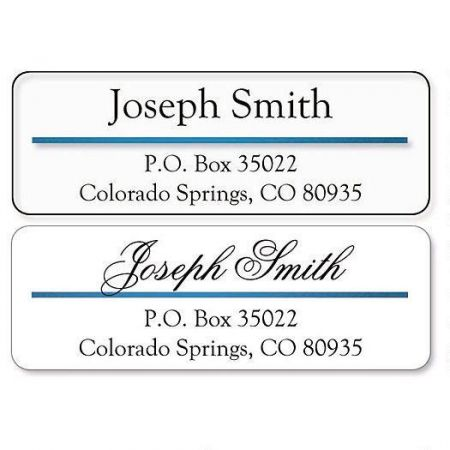 Blue Foil Accent Line Clear Premier Address Labels  Current Catalog