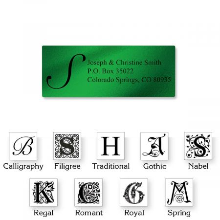 Monogram Green Foil Address Labels - 240 Count Sheets