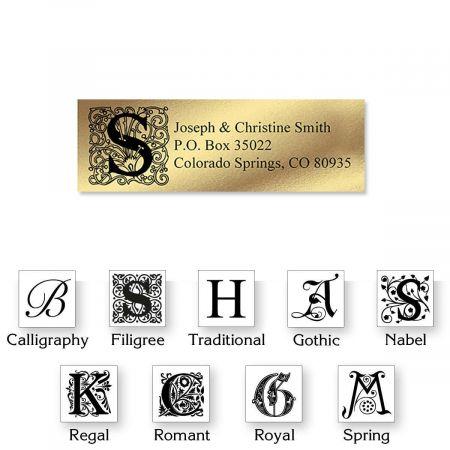Monogram Gold Foil Address Labels - 96 Count Sheets