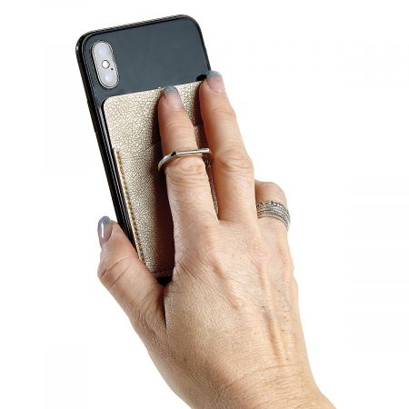 Cell Phone Ring Cling Attaches with no-residue 3M adhesive; holds cards and ID. Metal ring grip is also a pivoting stand. Metallic colors vary; we'll choose 1 for you. 2-1/4  x 3-1/2 .