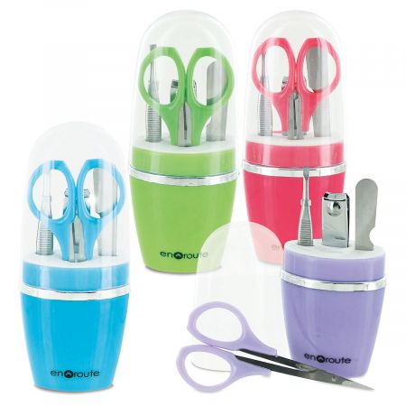 Manicure Set You get 4 nail care toolsnail clipper, scissors, tweezers, and nail fileall neatly fitting into a 1  x 2  x 5  tall case. Case colors vary; let us choose 1 for you.