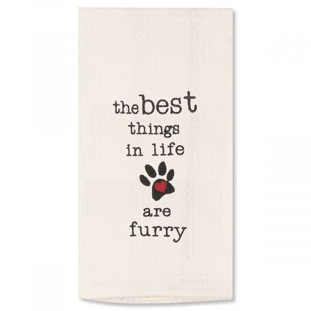 Furry Embroidered Pet Waffle Towel