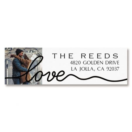 Love Black Caption Classic Photo Personalized Address Labels