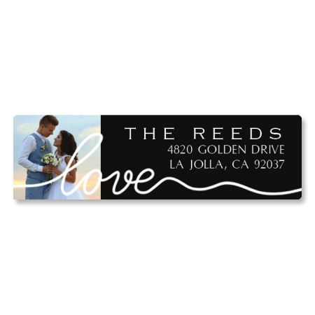 Love White Caption Classic Photo Personalized Address Labels