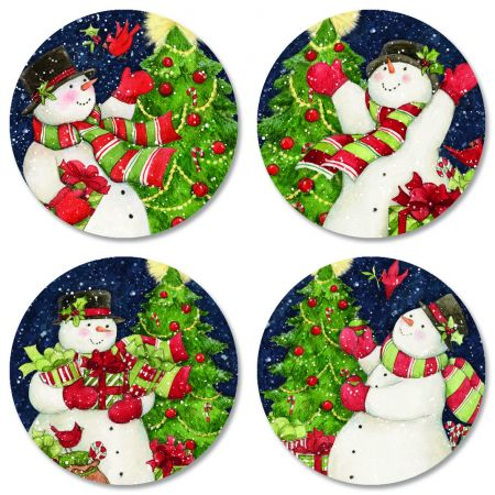 Snowman Tree Envelope Seals (4 Designs)