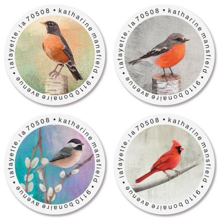 Birds Round Address Labels (4 Designs)