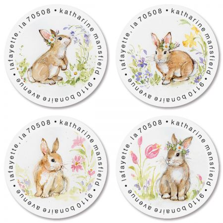 Brown Bunny Round Address Labels (4 Designs)