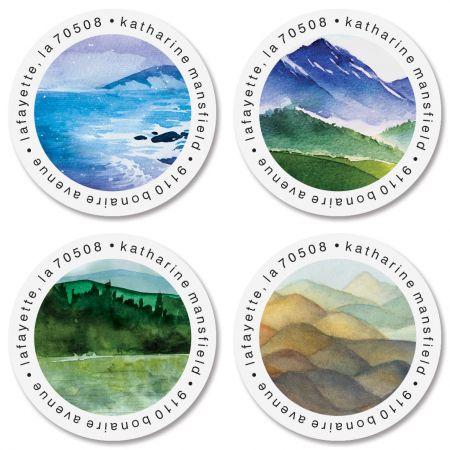 Landscape Round Address Labels (4 Designs)