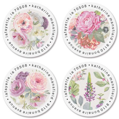 Pink Peony Round Address Labels (4 Designs)