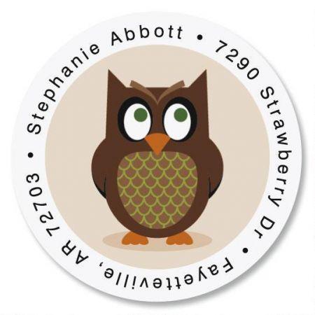 Owl Round Address Label
