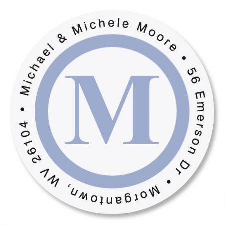 blue simple initial round address labels current catalog