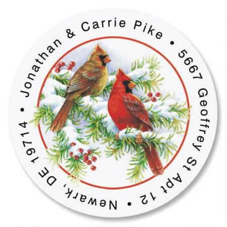 Cardinals Round Address Labels
