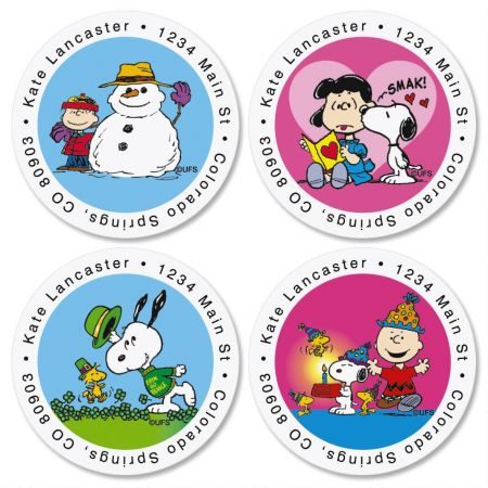 PEANUTS® Year Round Round Address Label  (12 designs)