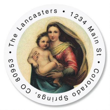 Madonna & Child Christmas Round Address Label
