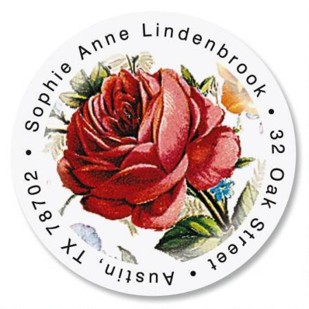 Victorian Roses Round Address Label