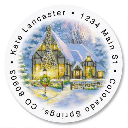Snowy Cottage Round Address Labels