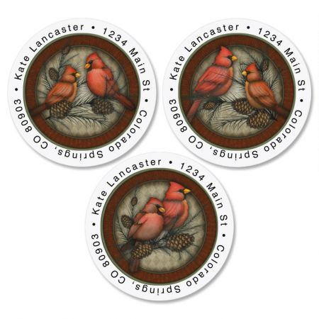Cardinals Round Address Labels  (3 designs)