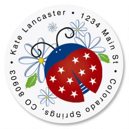 Patriotic Ladybugs Round Address Label