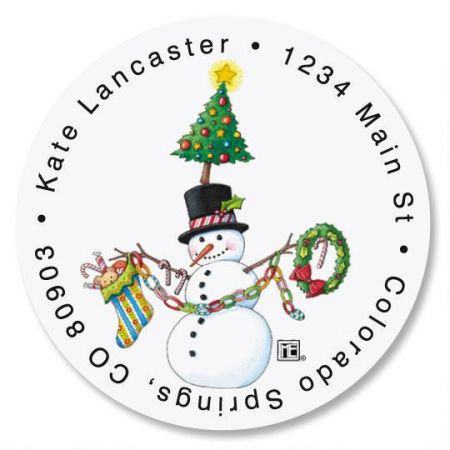 Christmas Circus Round Address Labels