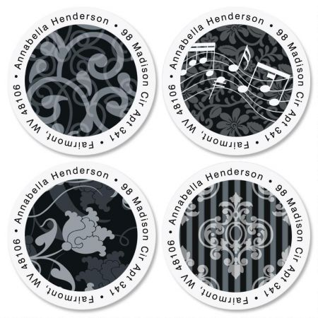 White-Grey-Black Round Address Labels  (4 Designs)