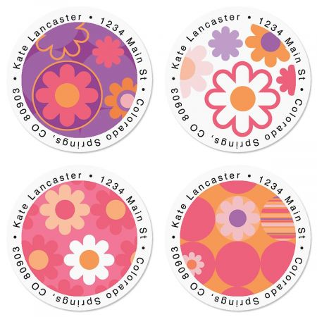 Daisy Delight Round Address Labels  (4 Designs)