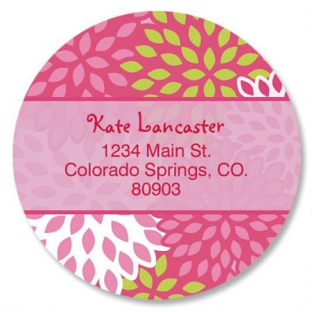 Pretty Pink Round Address Labels