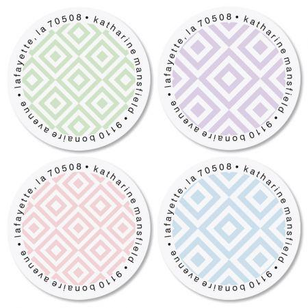 Diamond Pattern Round Labels