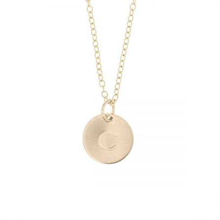 14K Gold Token Initial Necklace