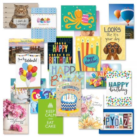 Mega Happy Birthday Greeting Cards Value Pack