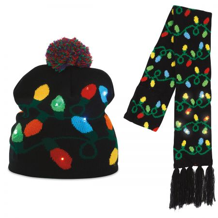 Christmas String Lights Light-Up Stocking Cap & Scarf